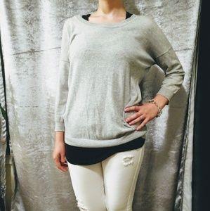 Grey Quarter-sleeve Sweater